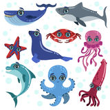 Marine Animals Set. Of Bright Color Cartoon Style Vector Illustrations Isolated On White Background Stock Photo
