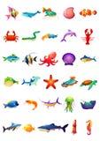 30 Marine Animals Set - ljust kulört Arkivbild