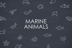 Marine Animals Thin Line Icons Illustration de Vecteur
