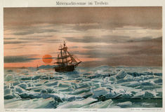 1894 MARINE ARCTIC ICE SAILING SHIP. Image is taken from an original 1894 Antique Print Royalty Free Stock Image