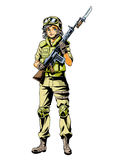 Marine army girl character. Illustration,logo,color Royalty Free Stock Images