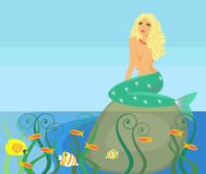 Marine background. Beautiful Mermaid in coral beads Stock Images