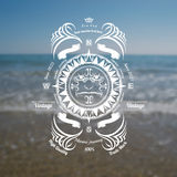 Marine background with compass label Stock Photography