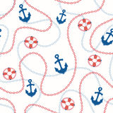 Marine background. Nautical seamless pattern. Sea ship anchors and chains background Stock Image