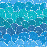 Marine background. Nautical seamless pattern. Waves background. Cartoon sea pattern Stock Photography