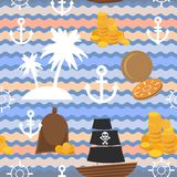Marine background. Palms, anchor, steering wheel, pirate flag, gold, seamless pattern. Vector Stock Photos