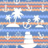 Marine background. Palms, anchor, steering wheel, wave background, seamless pattern. Vector Stock Image