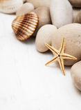 Marine background with pebbles and starfish Stock Photography