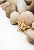 Marine background with pebbles and starfish Royalty Free Stock Image