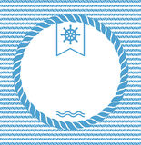 Marine background with rope. Blue and white marine background with ropes and steering wheel vector illustration