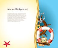 Marine background with sailor items Stock Images