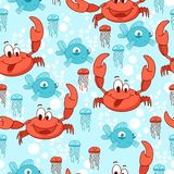 Marine background with sea animals. Royalty Free Stock Photography