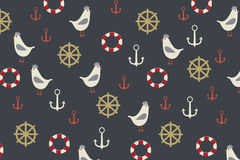 Marine background with seagull, anchor, lifeboat on it Stock Photo