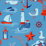 Marine background. Seamless pattern with marine issues. Vector illustration in cartoon style Royalty Free Stock Image