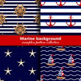 Marine background. Set of seamless patterns, four textures vector illustration