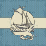 Marine background with ship. Vintage vector marine background with sailing ship Stock Photo