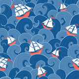 Marine background. Ships and waves seamless pattern. Nautical background Royalty Free Stock Photos
