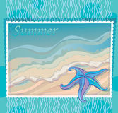 Marine background with starfish Stock Images