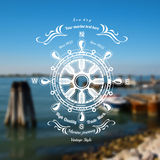 Marine background with steering whee label Royalty Free Stock Images