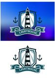 Marine banner with lighthouse and anchor Royalty Free Stock Images