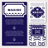 Marine banners or flyers design with sea elements. Marine banners or flyers template design with sea elements. Vector illustration Royalty Free Stock Image