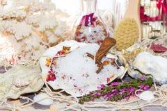 Marine bath salt in a shell Royalty Free Stock Photos