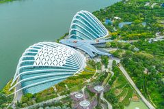 MARINE BAY / SINGAPORE, 30 APR 2018 - Beautiful view of Gardens By the Bay from Marina Bay Sands Observation deck royalty free stock photos