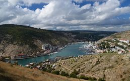 Marine Bay with Ukrainian ships against a background of mountains stock photo