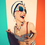 Marine beach fashion styleHappy summer lady. Stock Photos