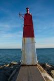 Marine beacon in the bay of Roses, Costa Brava, Catalonia, Spain Stock Photos
