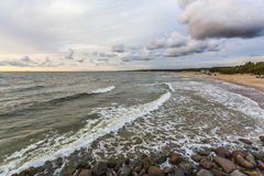 Marine berth. Colorful sunset at a famous public marine berth in resort city of Palanga, Lithuania, Europe Stock Image