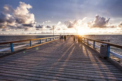 Marine berth. Colorful sunset at a famous public marine berth in resort city of Palanga, Lithuania, Europe Royalty Free Stock Image