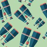 Marine binoculars flat icon seamless pattern. stock illustration