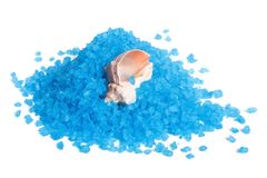 Marine Blue bath salt and shell  Stock Photos