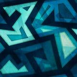 Marine blue geometric seamless pattern with grunge Stock Photography
