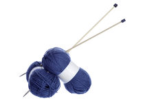 Marine blue knitting yarn with needles Stock Images