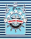 Marine blue vintage banner with sea design elements. Vector illustration Stock Photos