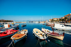 Marine with boats in the city Supetar Royalty Free Stock Image