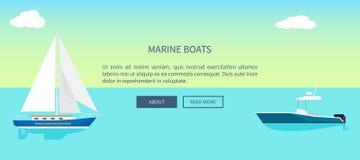 Marine Boats Web Banner avec le texte, voilier de yacht Photos libres de droits