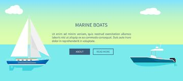 Marine Boats Web Banner with Text, Yacht Sailboat Royalty Free Stock Photos