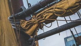 Marine Brown Canvas Mast Ship stock images