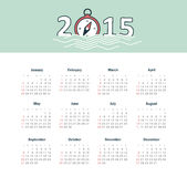 Marine calendar 2015 year with compass Stock Image