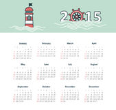 Marine calendar 2015 year with lighthouse Royalty Free Stock Image
