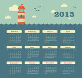 Marine calendar 2015 year with lighthouse Royalty Free Stock Photo