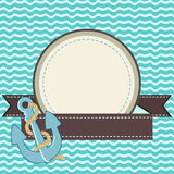 Marine card. Nautical card with frame of the rope and anchor Royalty Free Stock Image