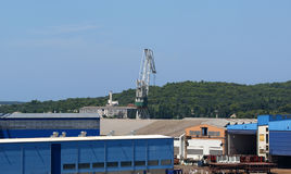 Marine cargo port. Cranes. Pula Stock Photos