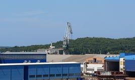 Marine cargo port. Cranes. Pula Stock Photos