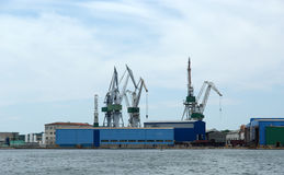 Marine cargo port. Cranes. Pula Stock Photography