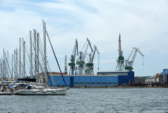 Marine cargo port. Cranes. Pula Royalty Free Stock Photo
