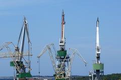 Marine cargo port. Cranes. Pula, Croatia Stock Image